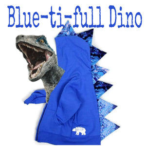 Jurassic World Blue Inspired Dinosaur Hoodie -- Blue-ti-full Dino -- Blue Jacket -- Wolfe and Scamp