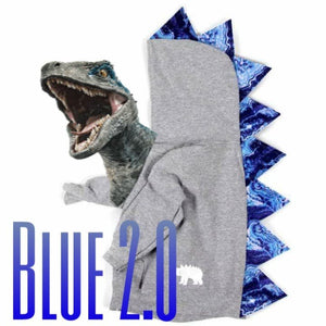 Jurassic World Blue Inspired Dinosaur Hoodie -- Blue Geode - Gray Jacket -- Wolfe and Scamp