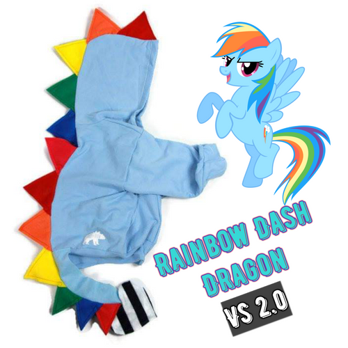 #041 - RTS RARE Rainbow Dash Dragon 2.0 With Striped Tail - Youth S (6-8)