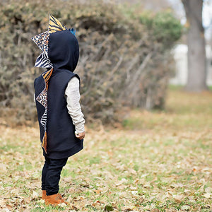 preschool animal print hoodie with dinosaur spikes