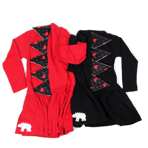 RTS Dinosaur Spike Rex Dress - Queen of Hearts - Black Dress - 2T | 6T