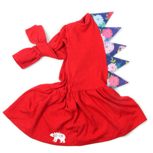 Red Floral Bell Sleeve Dinosaur Spike Rex Dress - Ready To Ship
