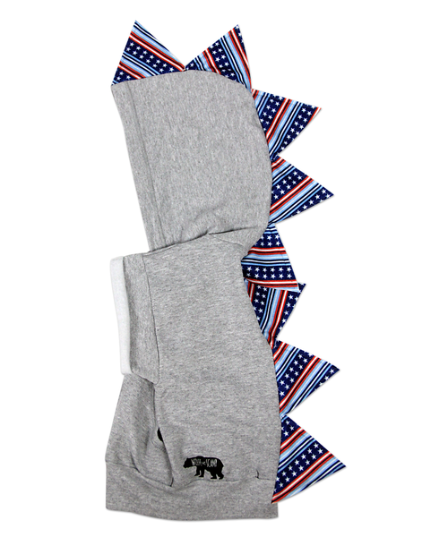 Limited Edition Patriotic  Baby Toddler Kids Dino Hoodie --- July 4th Stars and Stripes - Wolfe and Scamp