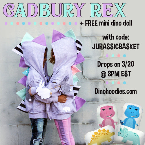 KIDS SIZES Cadbury Rex  -  Limited Edition Easter Dinosaur Hoodie