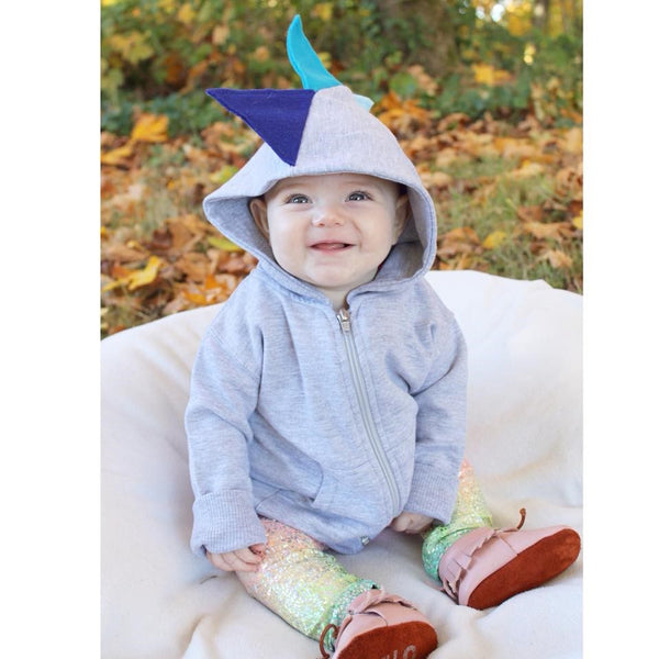 Blue Dinosaur Spike Hoodie Sweatshirt -- Blue Ombre Jacket - Wolfe and Scamp
