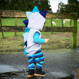 Blue Dinosaur Spike Hoodie Sweatshirt -- Blue Ombre Jacket - Wolfe and Scamp- baby blue, baby, boy, first birthdday, all blue, ombre, halloween, dino, spike