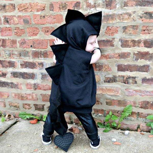 ... Baby/Toddler/Kids Black Dragon Hoodie With Tail - Wolfe and Sc& ... & Baby/Toddler/Kids Black Dragon Hoodie With Tail u2013 Wolfe and Scamp