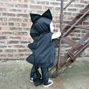 Baby/Toddler/Kids Halloween  Black Dragon Hoodie With Tail - Wolfe and Scamp