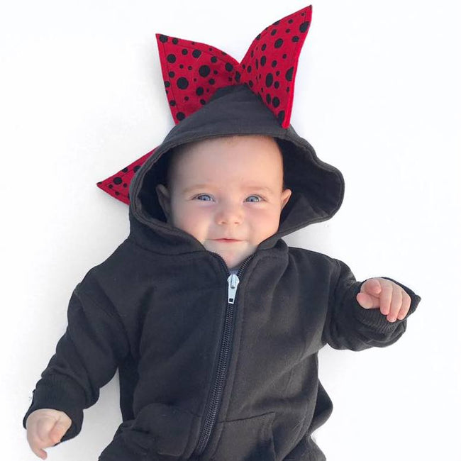 Baby Toddler Kids Dinosaur Hoodie - Red and Black Polka Dots