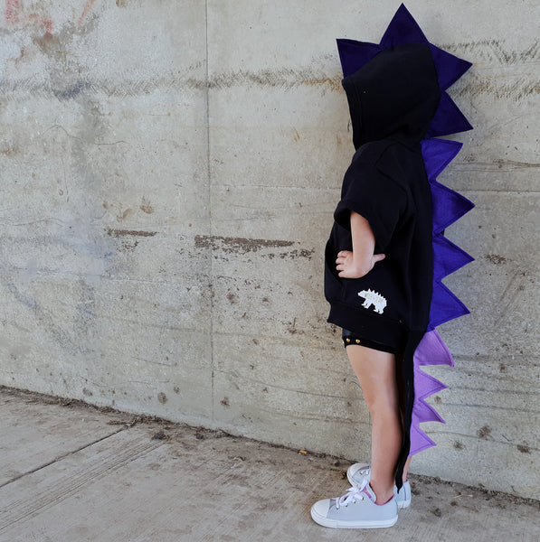 Baby/Toddler/Kids Black Dragon Hoodie With Tail - Ultra Violet Amethyst Dragon - Wolfe and Scamp