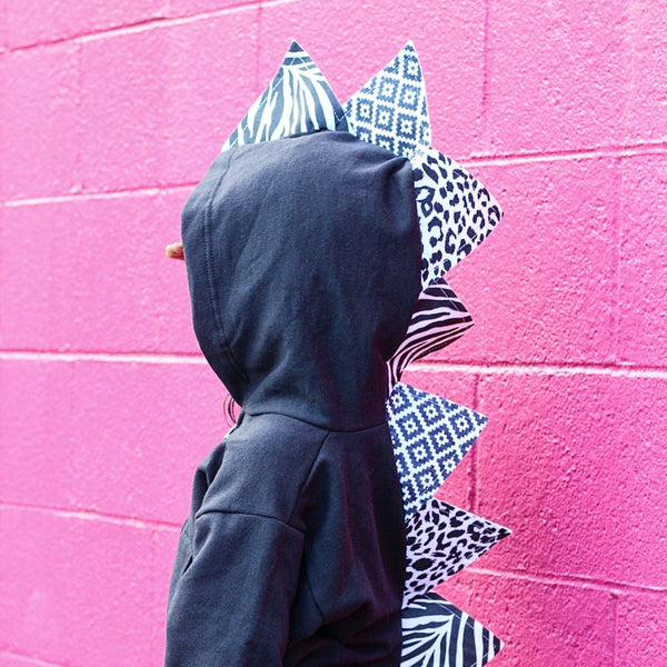 Baby Toddler Kids Black Dinosaur Hoodie Kids Dress Up -- Mixed Up Monochrome - Wolfe and Scamp