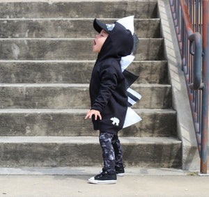 black and white dinosaur hoodie for fashion kids