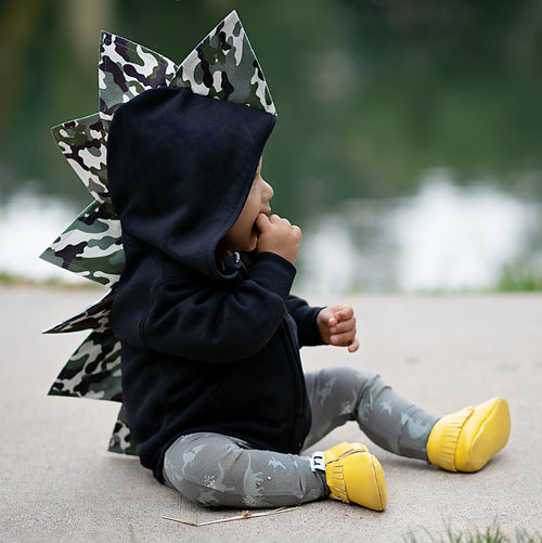 Baby Toddler Kids Dinosaur Hoodie - Black Camo - Wolfe and Scamp