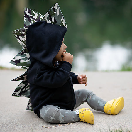 Baby Toddler Kids Dino Hoodie -- Black Out Green Ombre