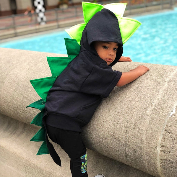 Baby/Toddler/Kids Black Dragon Hoodie with Tail - Black Emerald Dragon - Wolfe and Scamp