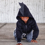 Baby/Toddler/Kids Black Dragon Hoodie with Tail - Shadow Dragon - Monochrome Spikes - Wolfe and Scamp
