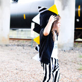 Baby Toddler Kids Novelty Black Dinosaur Hoodie - Yellow and Black Stripes - Wolfe and Scamp