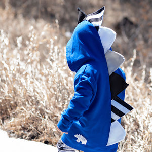 black white and blue toddler dinosaur hoody