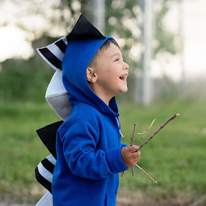 black white and blue toddler dinosaur hoodie