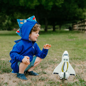 toddler blue dinosaur hoodie with rocket ship spikes STEM toy