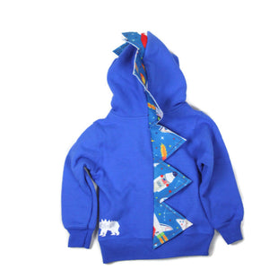 toddler blue dinosaur hoodie with rocket ship spikes STEM toy constellation stars