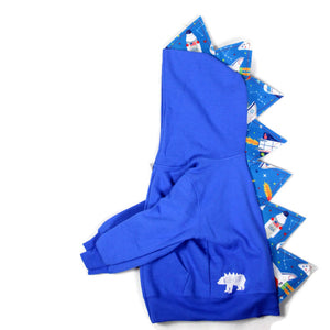 toddler blue dinosaur hoodie with rocket ship spikes STEM toy educational