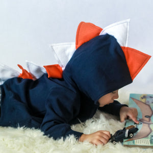 Navy Blue Dino Hoodie with Orange + White Spikes
