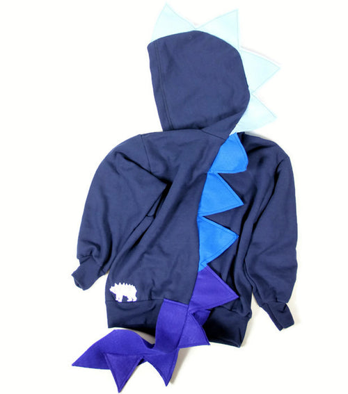Baby/Toddler/Kids Navy Blue Dragon Hoodie With Tail - Navy Blue Ombre Dragon - Wolfe and Scamp