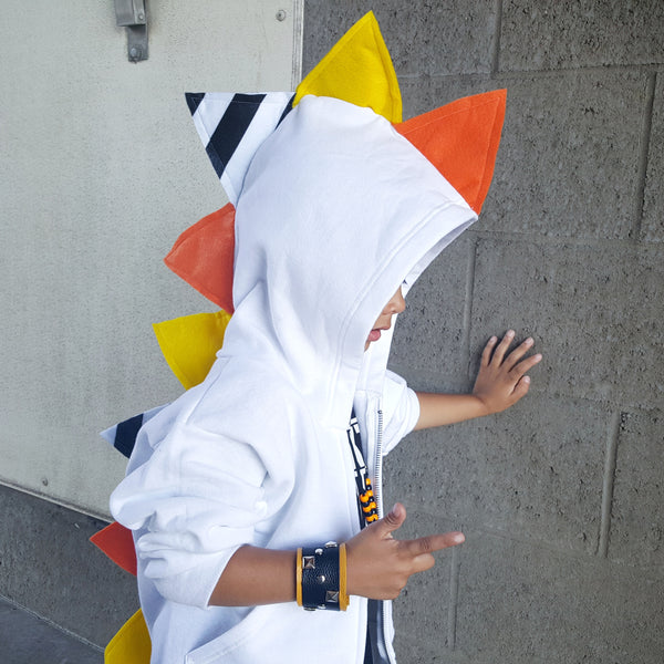 *LIMITED EDITION * Halloween Candy Corn Dinosaur Hoodie for Baby/Toddler/Kids - White Jacket - Wolfe and Scamp
