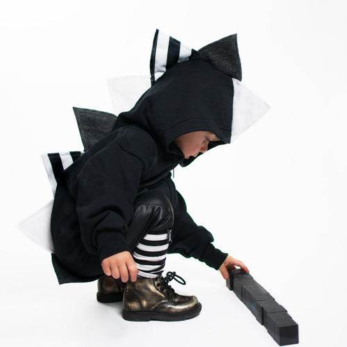 Baby Toddler Kids Black Dinosaur Hoodie Kids Dress Up -- Monochromasaurus - Wolfe and Scamp