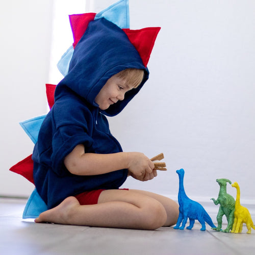 Baby Toddler Kids Blue Dinosaur Hoodie  - Navy and Red Spiked Dino Sweater - Wolfe and Scamp