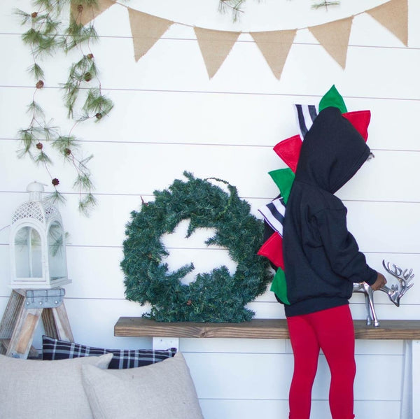 *LIMITED EDITION* Baby/Toddler/Kids Christmas Gift Dino Hoodie -- Black Jacket + Stripes - Wolfe and Scamp