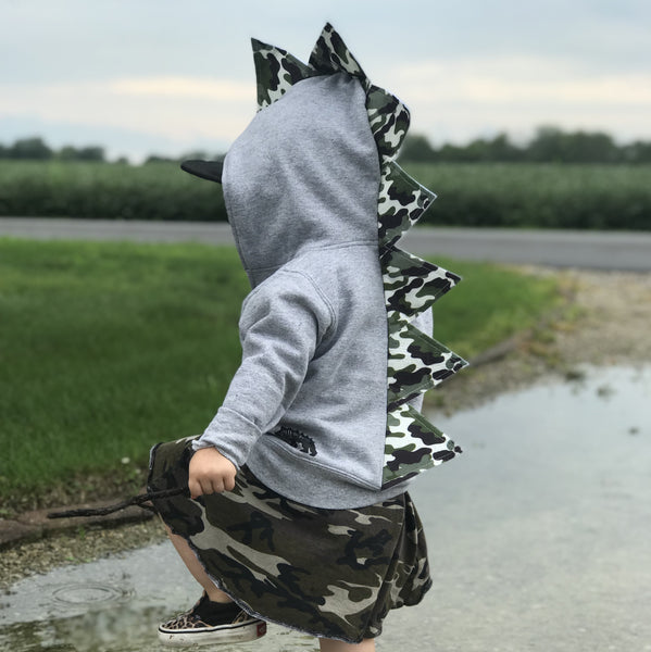 Baby Toddler Kids Dinosaur Hoodie - Classic Camo - Gray Jacket - Wolfe and Scamp