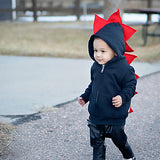 Red and Black Kids Dinosaur Hoodie - Reverse Fireball - Wolfe and Scamp