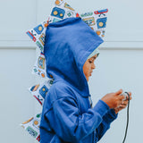 *NEW* Kids Blue Dinosaur Hoodie - Retro Gamer Computer Game Spikes