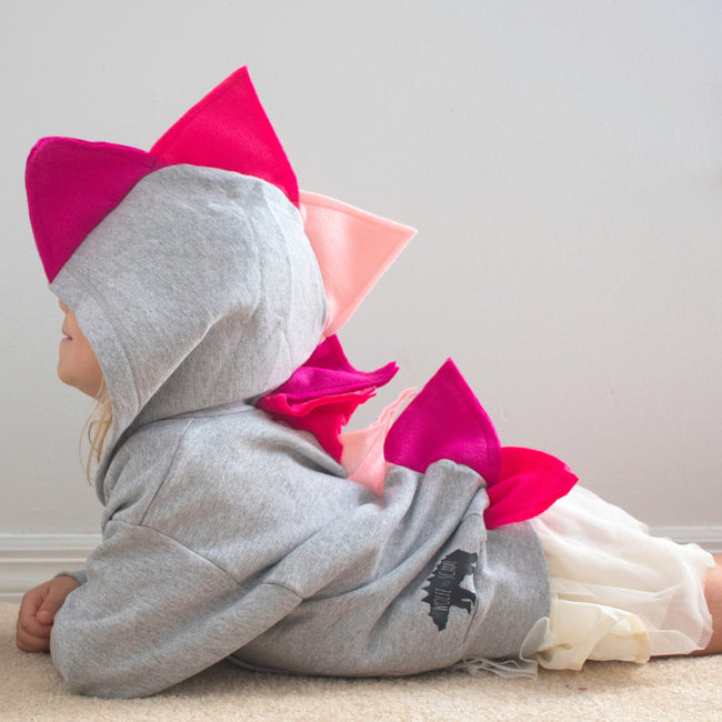 Girly Pink Toddler Girl Dino Hoodie - Hot Pink and Baby Pink Spike Dinosaur Hoodie*NEW* Girly Pink Toddler Girl Dino Hoodie - Hot Pink and Baby Pink Spike Dinosaur Hoodie - Wolfe and Scamp
