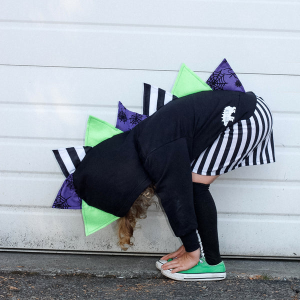 Beetlejuice Halloween Dinosaur Hoodie for Babies, Toddlers and Kids - Glitter Spiderweb Spikes - Wolfe and Scamp