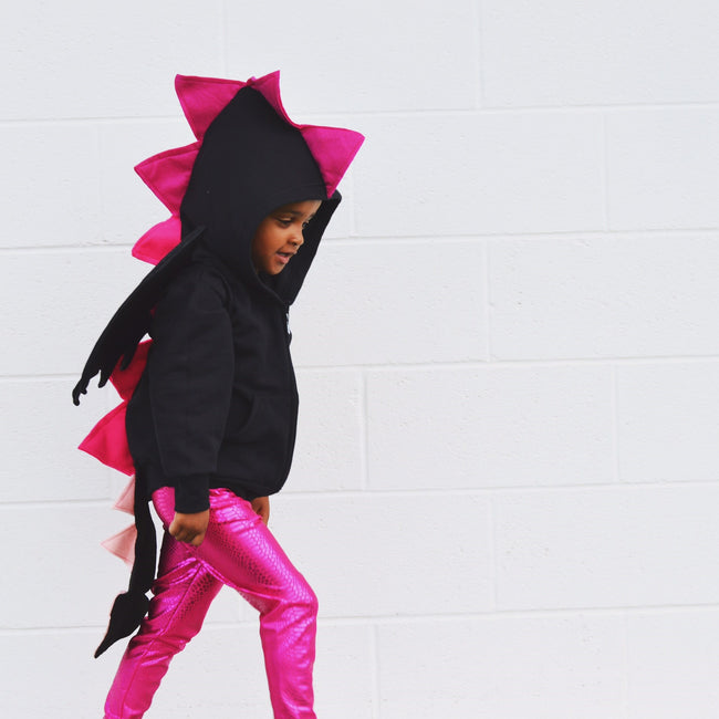 Baby/Toddler/Kids Black Dragon Hoodie -  Dragoness Pink Spikes