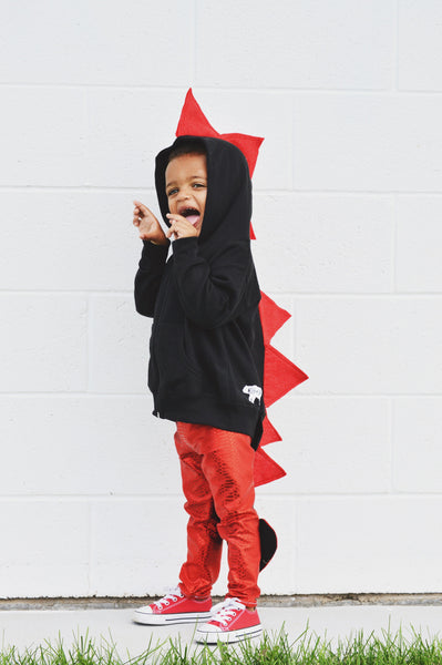 Baby/Toddler/Kids Halloween  Black Dragon Hoodie - Red Shimmer Spikes - Wolfe and Scamp