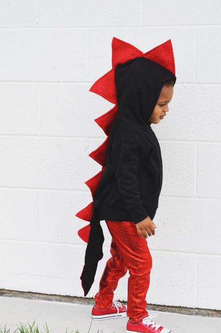 Baby/Toddler/Kids Black Dragon Hoodie with Tail - Shadow Dragon - Monochrome Spikes