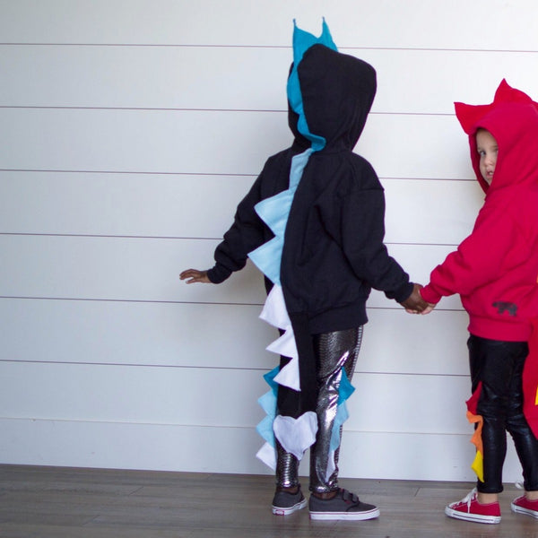 Baby Toddler Kids Black Dragon Hoodie -- Ice Dragon -- Wolfe and Scamp