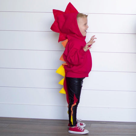 *NEW* Baby/Toddler/Kids White Dragon Hoodie with Tail - Rainbow Birthday Dragon