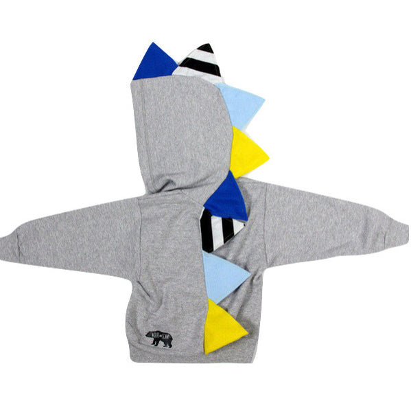 Baby Toddler Kids Novelty Gray Dinosaur Hoodie - Yellow, Blue and Black and White Stripes - Wolfe and Scamp