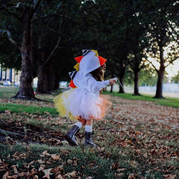halloween Candy Corn Dinosaur Hoodie for Baby/Toddler/Kids - White Jacket - Wolfe and Scamp