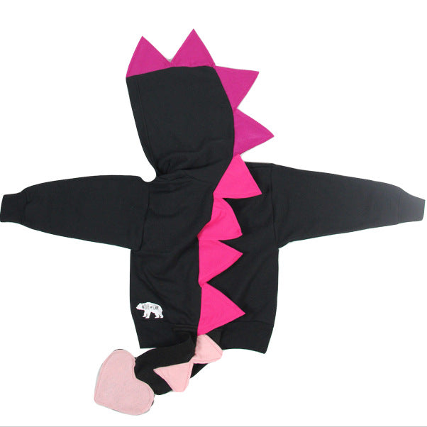 Baby/Toddler/Kids Black Dragon Hoodie -  Dragoness Pink Spikes - Wolfe and Scamp