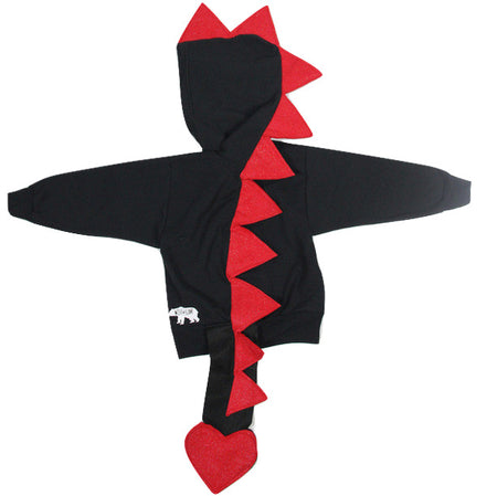 Baby/Toddler/Kids Black Dragon Hoodie With Tail - Ultra Violet Amethyst Dragon