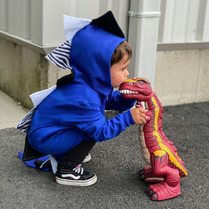 handmade blue dragon hoodie with tail for toddler boy