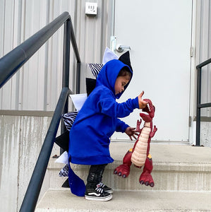 handmade blue dragon hoodie with tail for preschool boy