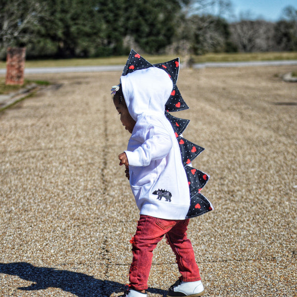 Baby/Toddler/Kids Valentine Dino Hoodie - White Jacket - Wolfe and Scamp