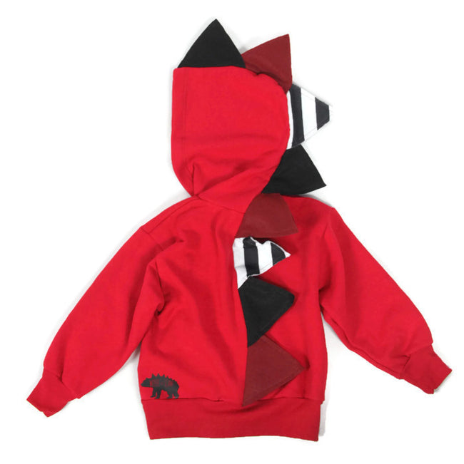 Baby Toddler Kids Stripe Spikes Dinosaur Hoodie - Red Stripes - Wolfe and Scamp